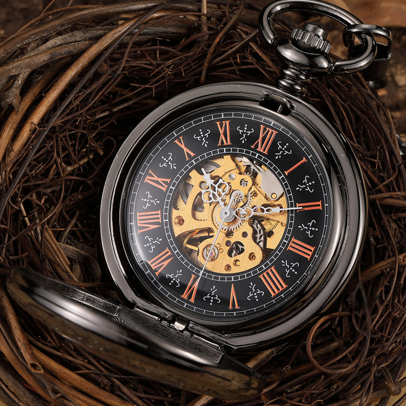 Steampunk Skeleton Mechanical Pocket Watch Men Vintage Black Hand Wind Men Fob Watch With Chain Roman Numerals Pendants Gift цена
