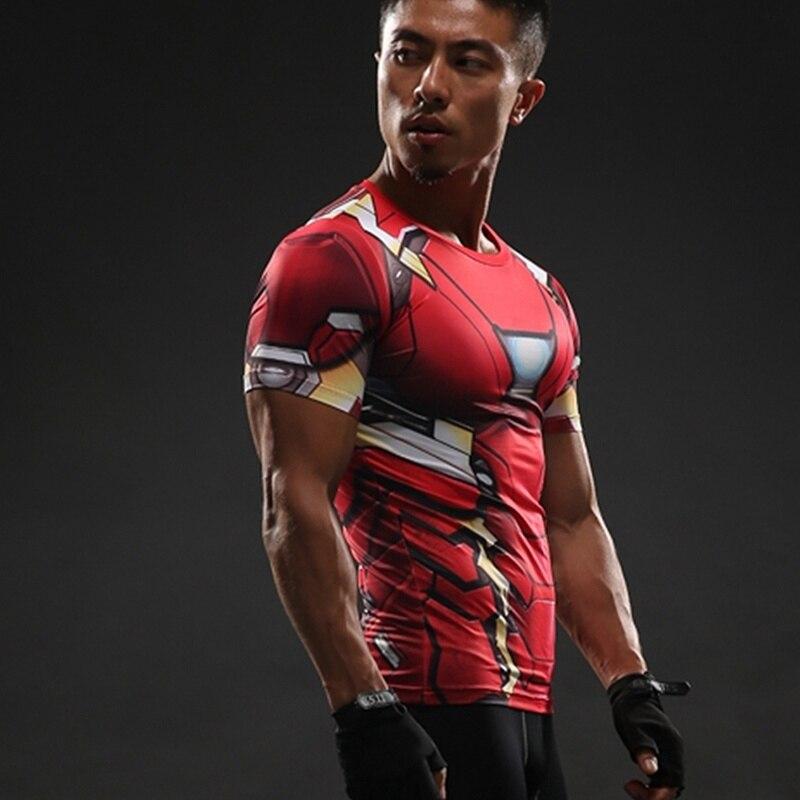 Superhero rashgard camisa do esporte dos homens