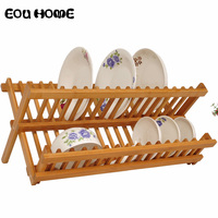 High Quality Bamboo Drying Racks Holders Kitchen Dishes Rack Drying Racks for Bowl Plate Dish Drying Drainer Cutlery Shelf