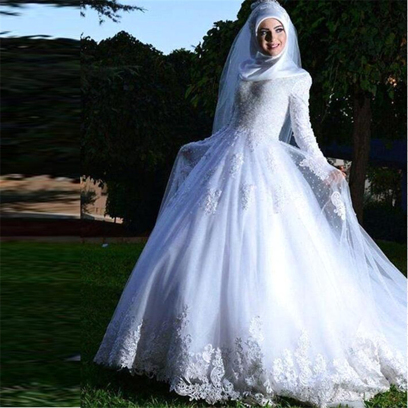 All Lace Wedding Dress: 2016 New White Long Sleeve High Neck All Covered Lace