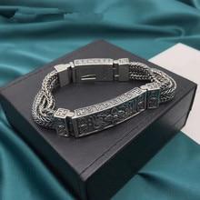 100% Pure 925 Sterling Silver Bracelets for Women Men Fine Jewelry Vintage S925 Solid Mantra Thai Silver Chain Bracelet