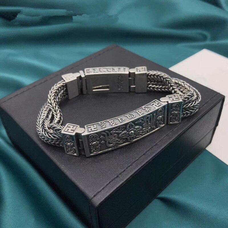 100% czysta 925 bransoletki ze srebra wysokiej próby dla kobiet mężczyzn elegancka biżuteria w stylu Vintage S925 solidna Mantra Thai Silver Chain BraceletBransoletki i obręcze   -