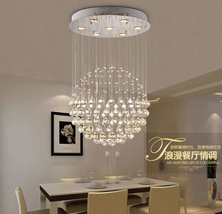 acheter moderne simple gu10 led pendentif en cristal lampe lustre boule ronde. Black Bedroom Furniture Sets. Home Design Ideas