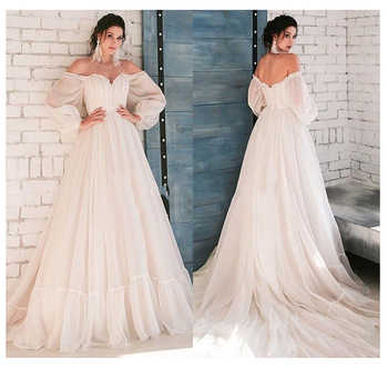 LORIE Boho Ivory Wedding Dress A-Line Appliques Puff Sleeves Bride Dress  White Lace Top Wedding Gown Free Shipping 2019 - DISCOUNT ITEM  42% OFF All Category