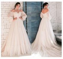 LORIE Boho fildişi düğün elbisesi A Line aplikler puf kollu gelinlik beyaz dantel üst gelinlik ücretsiz kargo 2019
