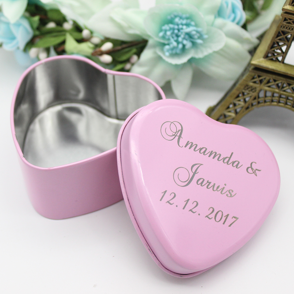 7.4*7.2*3.8cm 48pcs Personalized Engraved Love Heart Tinplate Candy ...