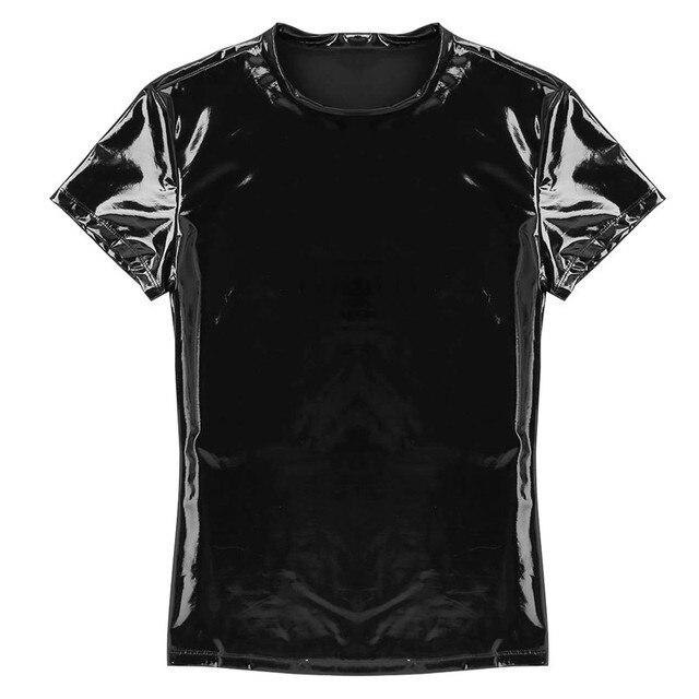 Seksowna męska skóra PVC wyglądające na mokre T-shirt kamizelka Stretch podkoszulek lateks Clubwear kostium sceniczny mięśni mocno T-Shirt Top