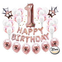 2019 1st Birthday Party Supplies and Rose Gold Decorations  Includes Confe