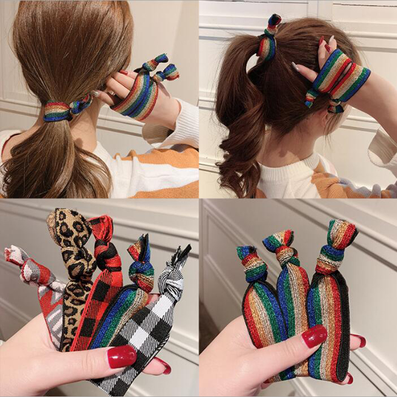 Korea 2019 Simple Rainbow Hair Rope Rubber Band Hair Accessories Cute Tie Hair Leopard Hair Ring Rope Female High Elastic
