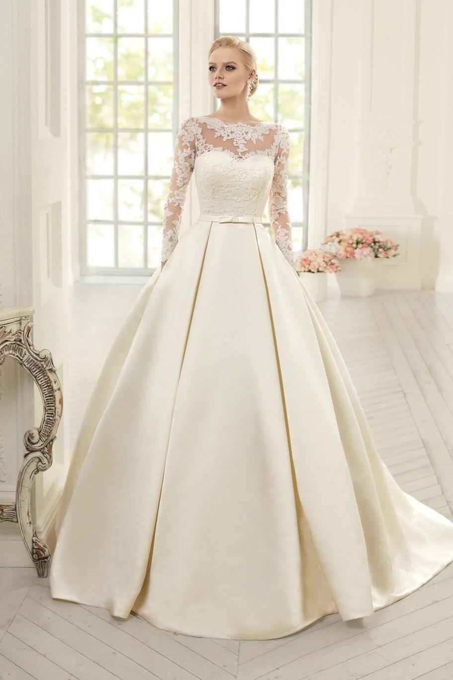 elegant soft satin ball gown wedding dresses 2017 long sleeve wedding dress lace up back vestido