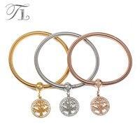 TL 3 PCS Lot Gold Rose Gold Silver Bangles Bracelets Crystal Life Tree Bangles Bracelets Spring
