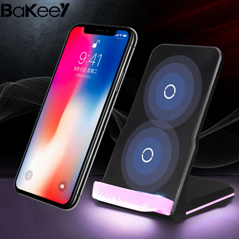 Bakeey Qi LED Light Wireless Charger Desktop Holder Black with USB Cable For iPhone X 8 8Plus for Samsung S8 S7 Edge Note 8