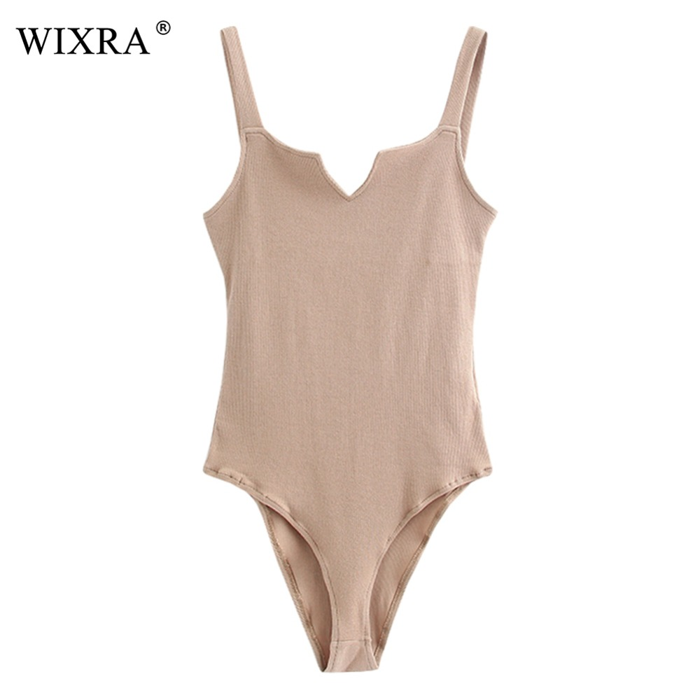 WIXRA Basic Sexy Bodysuits Classic Solid Body Overalls Summer Slim Bodysuit Women's Sleeveless Rompers Tank For Women