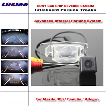 Liislee Rear Camera For Mazda 323 / Protege 5 Intelligent Parking Tracks Backup Reverse / Dynamic Guidance Tragectory