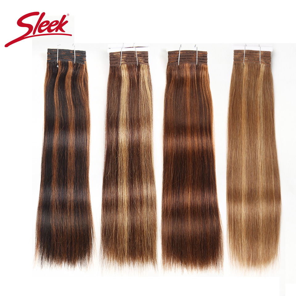 Sleek Pre-Colored P4/27 P4/30 P1B/30 P6/2 Human Hair Bundles Brazilian Straight Hair 1 Bundle Remy Hair Extension 113g