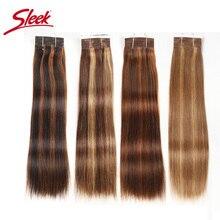 Sleek cabelo humano pré colorido p4/27 p4/30 p1b/30 p6/2 pacotes brasileiros extensão de cabelo liso, 1 pacote de extensão remy 113g
