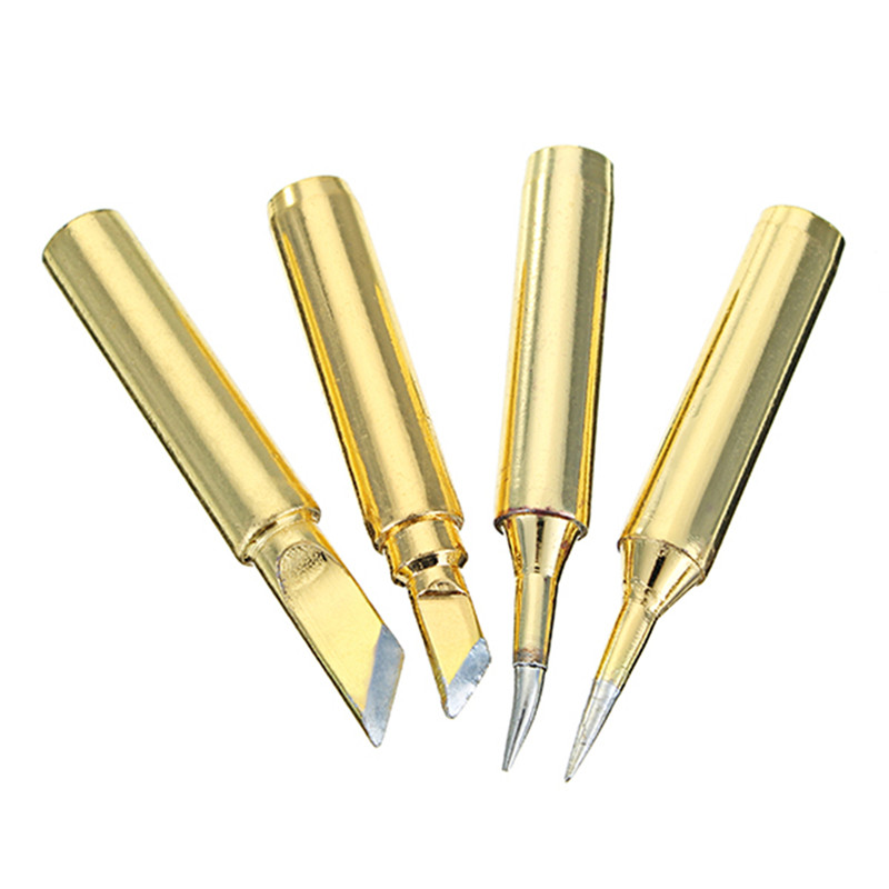 High Quality 4pcs Golden Lead-free 900M Series Soldering Iron Tips IS I K SK 4 Types New