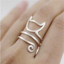 El original diseño anillos 925 anillo de Plata Esterlina Personalizado lindo gato para las mujeres anillos ajustables de la joyería hecha a mano