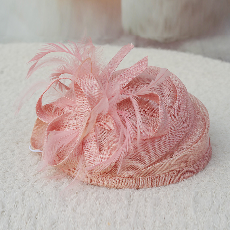 2017 Linen hat high quality vintage haircord cap fashion small fedoras women's banquet feather beret hair accessory stewardess c
