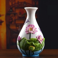 Classical Chinese Ceramic Lotus Flower Vase Porcelain Dragonfly Pitcher Gift Craft Ornament for Room Decor and Art Collection