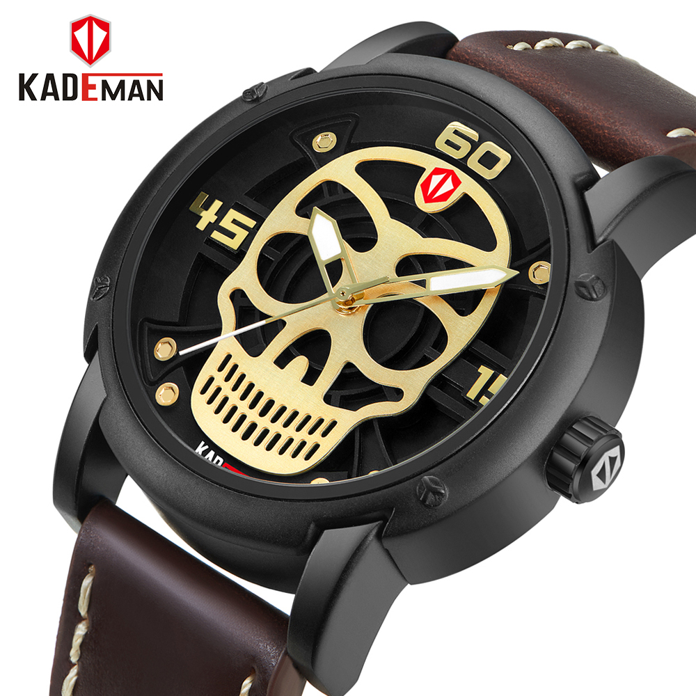 Hot Dropship Unique Design Pirate Skeleton Skull Quartz Men Watches Luxury Waterproof Leather Men Sports Watch Relogio Masculino skone genuine pirate skull style quartz men watches brand men military leather men sports watch waterproof relogio masculino