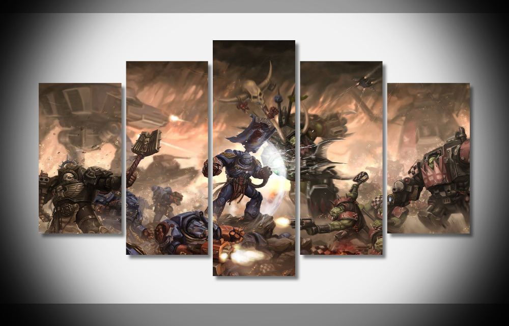 7215 warhammer 40k space marines vs orks battle Poster wood Framed Gallery wrap art print home wall decor Gift wall picture