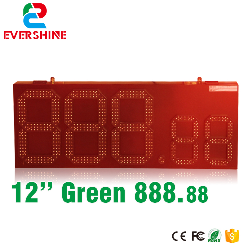 RF controller outdoor gas station led oil price sign 7 Segment panel 15 inch green color for hot sale hd high quality led gas price display sign outdoor led billboard green color 12 outdoor led display screen