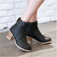 Short boots size new fashion and European style retro Strappy high-heeled shoes platform
