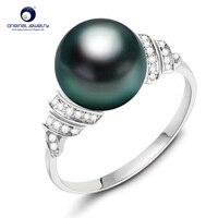Лет 18 К Solid Gold морской жемчуг кольцо 11 12 мм черный жемчуг кольцо Tahitian Жемчужное свадебное кольцо