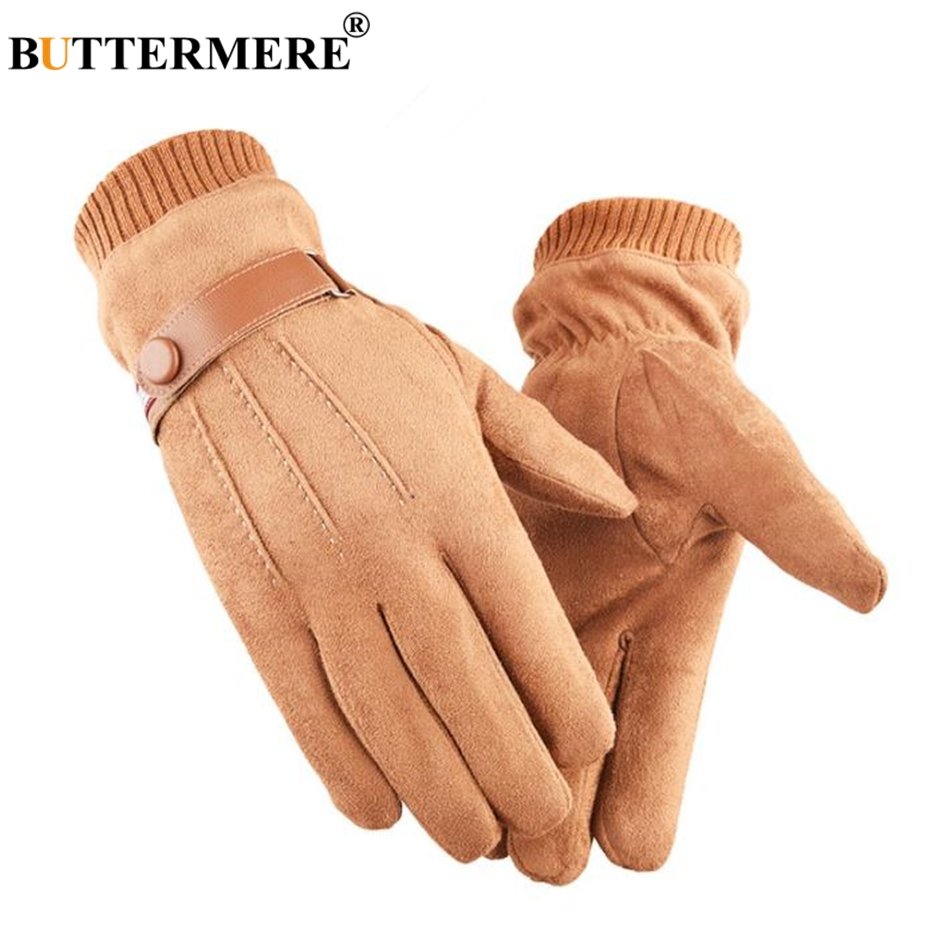 BUTTERMERE Men Real Suede Leather Gloves Touch Screen Winter Warm Velvet Thick Male Outddor Motorbike Cycling Yellow Gloves