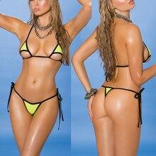 Sexy Gold Mini G-String Thong Micro Bikini Extreme Sex Tan Sunbath Bikinis Set Beach Swimwear Female Swimsuit Outdoor Biquini