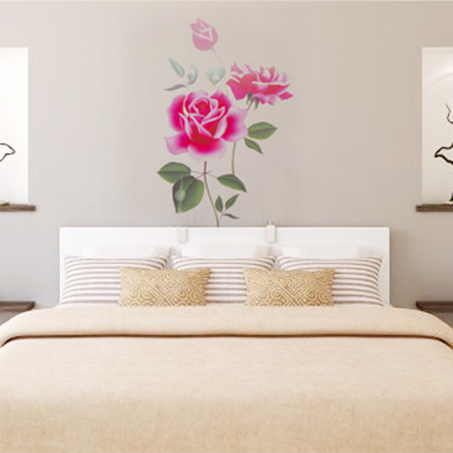 5d1662b57 Romantic Rose Flower Love 3d Wall Sticker Home Decor Living Room Bedroom  kitchen flower shop Decals Mother s Day gift Home Decor
