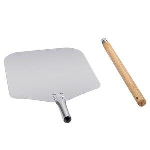Image 3 - אלומיניום פיצה האת לקלף עם ארוך עץ ידית מאפה כלים אביזרי פיצה משוט מרית עוגת אפיית קאטר