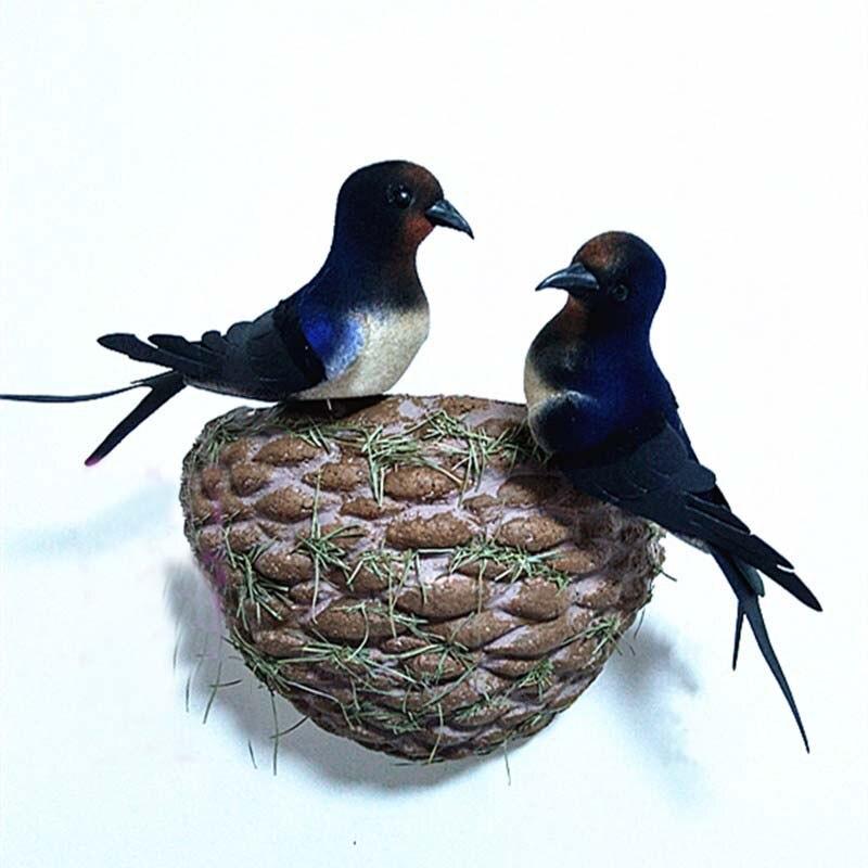 3pcs decorative mini swallows 2pcs artificial foam feather for Artificial birds for decoration