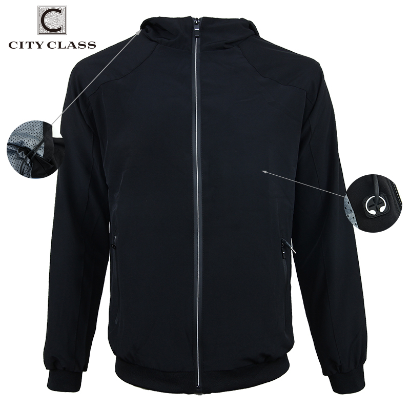 CITY CLASS Spring breathable mens windbreakers headset hooded jacket zipper pockets casual long sleeves coats top outwear 1706