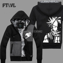 Anime Fairy Tail Jacket Natsu Cosplay Costume Men Fashion Thick Hoodies Sweatshirt Coats Autumn Winter Clothes