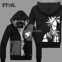 Anime Fairy Tail Jacket Natsu Cosplay Costume Men Fashion Thick Hoodies Sweatshirt Coats Autumn Winter Clothes