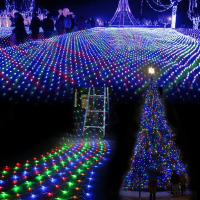 LED Linkable Design Net Mesh Fairy String Light Ideal For Indoor Outdoor Home Garden Christmas