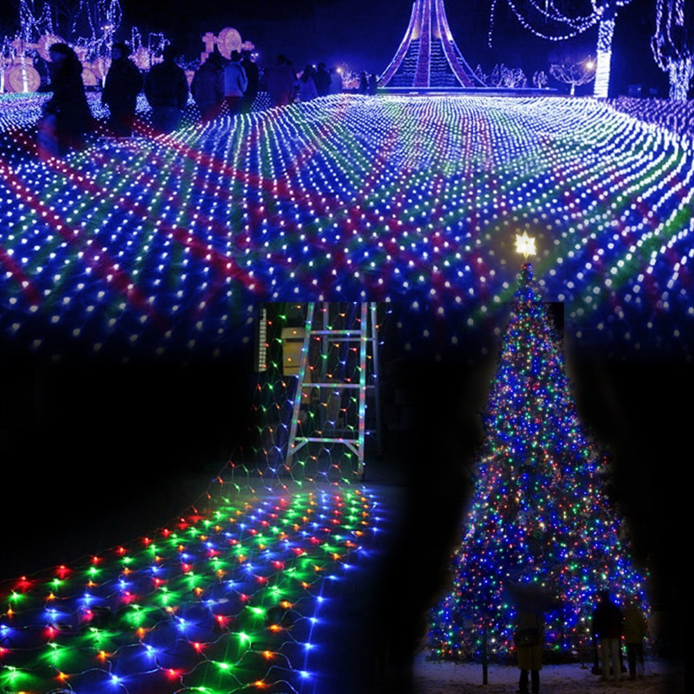3M *2 M Waterproof LED Net Mesh Fairy String Lights Ice Bar Lamp For Indoor Outdoor Twinkle Home Garden Christmas Party Wedding
