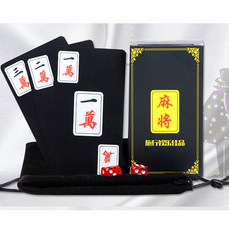 Travel Mahjong Send Dice/Bag Waterproof  Mahjong  Board Game 148 PCSPVC Frosted Plastic Cards