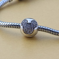 ZMZY 925 Sterling Silver Fit Pandora Bracelets Original Mickey Minnie Clip CZ Crystal Charms Beads Jewelry