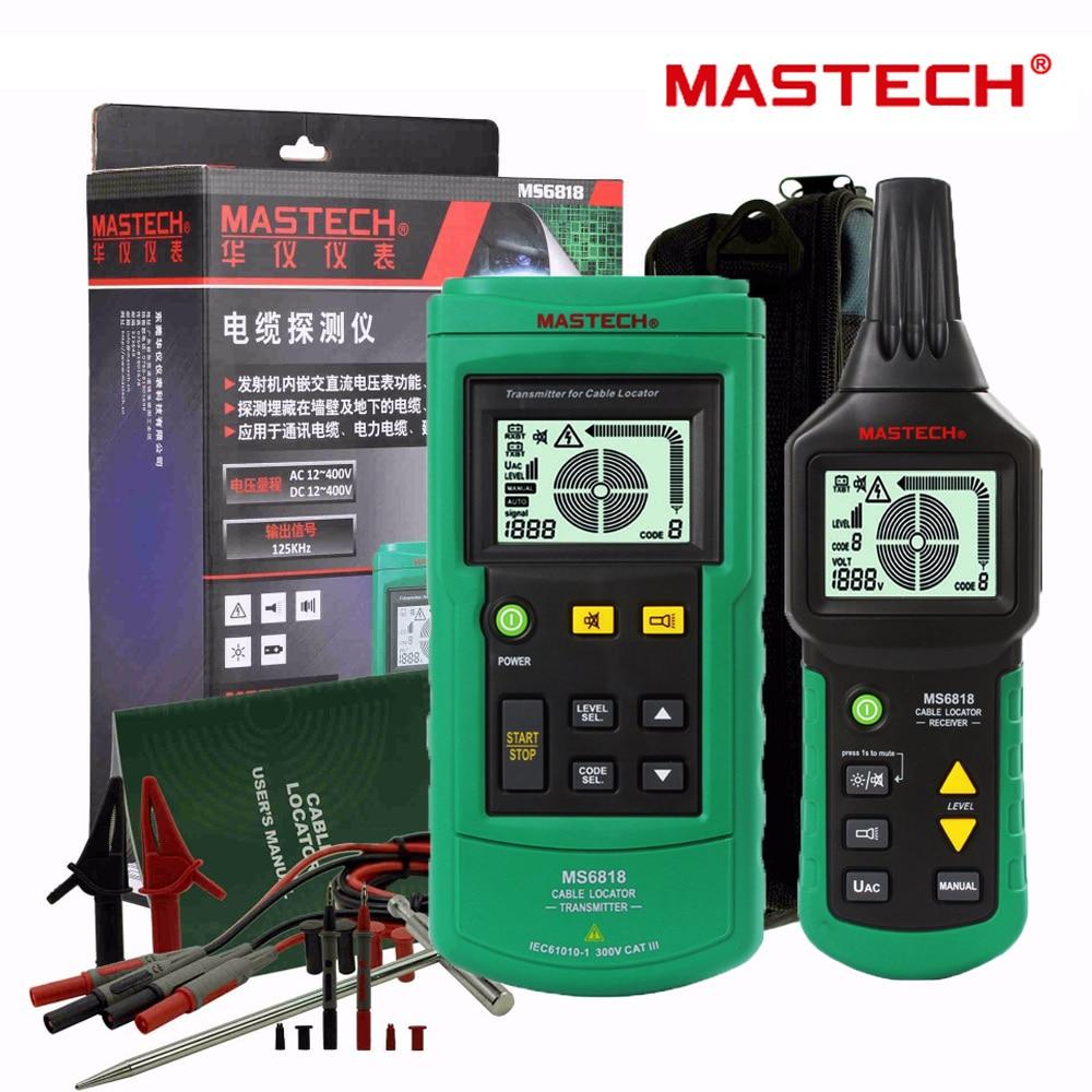 Mastech MS6818 נייד מקצועי חוט כבלי Tracker מתכת צנרת Locator גלאי בודק קו Tracker Voltage12 ~ 400V