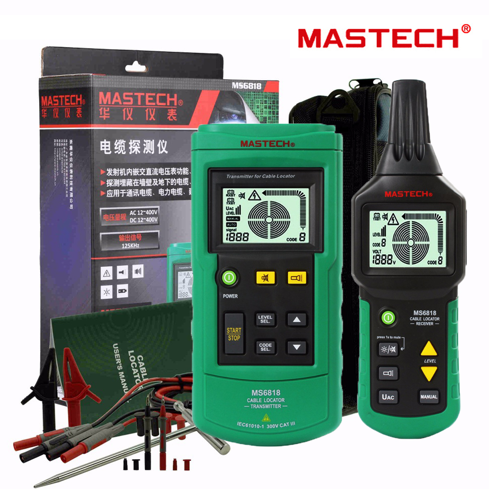 Mastech MS6818 Portable Professional Draht Kabel Tracker Metallrohr Locator Detector Tester Linie Tracker Voltage12 ~ 400V