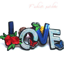 1pcs Embroidered sequined Iron On Patches fashion flower patch sew on Clothing sticker DIY T shirt accessories modify badge(China)