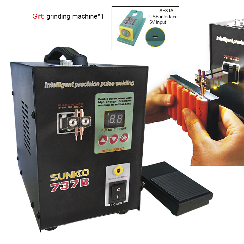 SUNKKO 737B spot welders 1.5kw precision pulse battery spot welder led light welding machine for 18650 battery pack spot welder