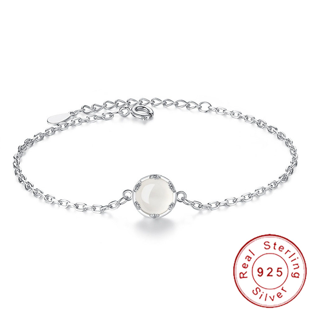 Bracelet Armband Jewelery Moonstone 925-Sterling-Silver Argent Women Chain Natural Pure
