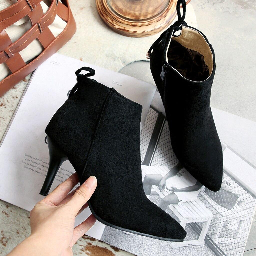 408011c2f Del Encaje A Estilete c Botas Mujeres Tamaño ~ Zapatos 35 Cremallera b  Tobillo 43 Mujer ...