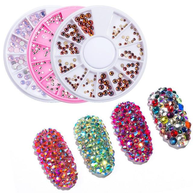 1box Mix Size Nail Art Strass Rhinestones Flame Crystal Opal Stones 3d  Manicure UV Gel Polish Decorations Tips Design Charms New fb65251219e2