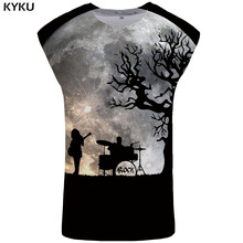 KYKU Brand Band Tank Top Men Moon Stringer Tree Ftness Clothing Punk Rock Undershirt Black Vest Sleeveless Shirt Tops Hip Hop