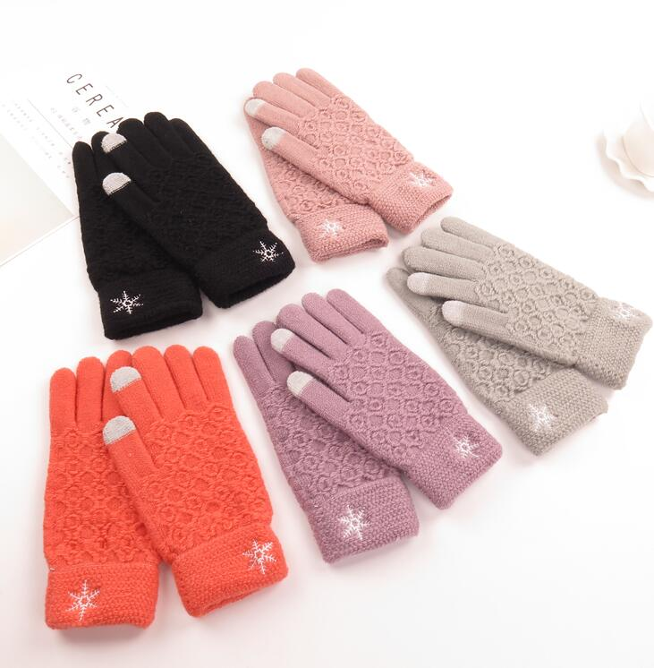 Women's Winter Knitted Thicken Warm Snow Embroidery Glove Lady's Winter Touch Screen Driving Glove R091